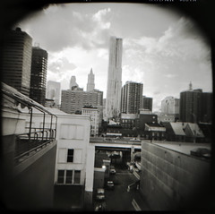 new york view. (htcoogan) Tags: nyc summer blackandwhite bw newyork 120 film square holga lomo kodak manhattan toycamera gothamist eastside 2012 htcoog