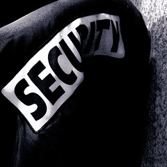 Security (pittpix) Tags: blackandwhite bw pittsburgh securityguard security leatherjacket iphone blackleatherjacket