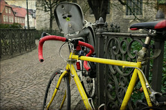 bicycles and fence - no.2 (macfred64) Tags: bicycle yellow fence germany mnster textured homeland hff yellowbike skeletalmess elmarit24mmf28asph leicax1 fencefriday mnstermarienplatz