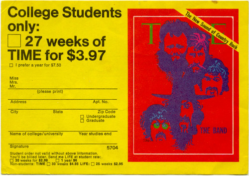 Time magazine college student offer, 1970