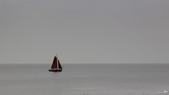 Lonely in a gray world (BraCom (Bram)) Tags: sky holland water sailboat canon grey boat flickr widescreen nederland thenetherlands explore sail minimalism lucht 169 bootje zeil volendam noordholland grijs zeilboot minimalisme markermeer canonef24105mmf4lisusm bracom canoneos5dmkiii