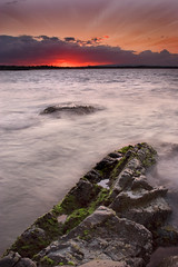 Glorious Noosa (Explored) (edwinemmerick) Tags: ocean longexposure sunset sea cloud 20d beach weather rock canon eos coast shoreline australia le slowshutter qld queensland coastline sa edwin sunshinecoast emmerick edwinemmerick