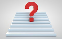 Red question mark on stairs (kasiastock) Tags: red sign stairs 3d symbol render perspective nobody problem help question questionmark concept answer faq threedimensional hesitation businessconcept frequentlyaskedquestion