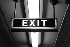 201. Exit (enfys photography) Tags: bw toronto sign canon subway blackwhite downtown photoaday exit baystreet day201 t3i 365project