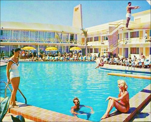 travel advertising pools 1950s 1960s poolside advertisements vacations inns midcentury lodges motorinns