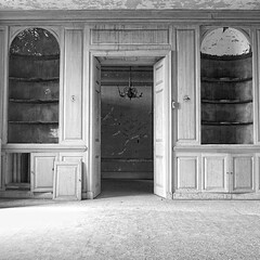 Dining room (view 2) (paul hyde) Tags: blackandwhite house abandoned room dining mansion panelled