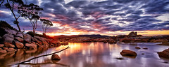 Sunset at Binalong Bay (Stanley Kozak) Tags: sunset sun reflection tree water clouds canon rocks carlzeiss zeiss18mm canon5dmkiii