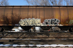 Bingoe Slop (TheBrainDead) Tags: art minnesota train photography graffiti painted minneapolis twin rail lf hopper slop braindead cites myb bingoe