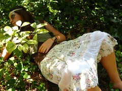 look away (in time of roses) Tags: light summer portrait green nature floral girl leaves garden warm child bright earth candid ground skirt hidden hippie boho