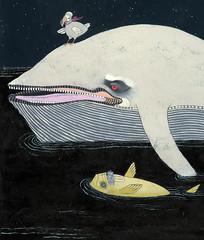 Night Voyage (detail) (nejjiferdavis) Tags: ocean art illustration night cat painting stars monkey minneapolis mpls dodo whale mn walrus jenniferdavis