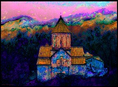 spiritual colors   (Sako Tchilingirian) Tags: pink autumn sunset sky mountain abstract color art texture tourism church saint architecture clouds digital forest photoshop work painting landscape photography photo arquitectura artwork acrylic arte artistic religion iglesia holy monastery armenia oil historical christianity monuments yerevan historia armenian sako    cs6  dilijan haghartsin        tchilingirian