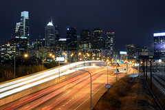 Philadelphia (Rafakoy) Tags: road city longexposure urban panorama color colour cars philadelphia colors skyline night digital lights highway cityscape colours pennsylvania pa philly vinestreetexpressway interstate676 nikond800 afsnikkor2470mmf28ded