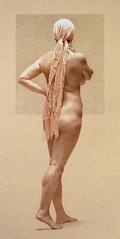 The Lilac Scarf (Patrick Chircop) Tags: nude chalk drawing malta tonedpaper troiscrayons patrickchircop