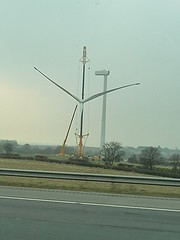 Lifting the blades (homer----simpson) Tags: green electric lift motorway wind m18 m1 crane sheffield electricity generation turbine blades turbines lifting hoist controversial generating m1motorway
