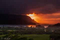 Sunset over Hanalei Bay (Al Ferla) Tags: ocean sunset red vacation sky mountains reflection water clouds landscape nikon sundown kauai hanalei princeville hanaleibay