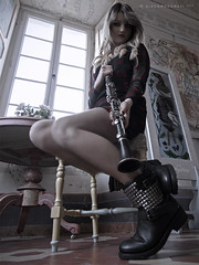 Clarinet (Giacomo Donati) Tags: music sexy window fashion chair legs boots vogue blondie russian dolcezza clarinet bellezza modella sensuale decolt