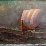 "<b>Leif Erickson Discovers Vinland (America) Year 1000</b><br/> Biorn, #191, Oil, Painting<a href=""http://farm9.static.flickr.com/8239/8652930524_20b47466cf_o.jpg"" title=""High res"">∝</a>"