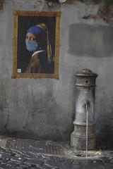 Fontana e Perla. (RO.BO.COOP.) Tags: streetart roma pasteup poster smog mask urbanart pearl vermeer posterart raffaello leonardodavinci arteurbana pearlearring robocoop streetartrome smogproject