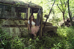 (yyellowbird) Tags: selfportrait bus abandoned girl forest illinois lolita cari