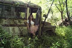 (yyellowbird) Tags: selfportrait bus abandoned girl forest illinois lolita cari