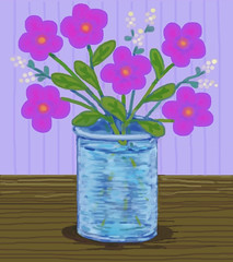 Pink Flowers in Blue Vase (Digital Pastel Day 7) (randubnick) Tags: stilllife art digitalart painter vase posterized pinkflowers digitalpastel painter12