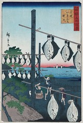 Conquered Flatfish (sjrankin) Tags: ocean art japan illustration print japanese fishermen edited libraryofcongress japaneseart racks drying ukiyoe hiroshige flatfish 1859 japanesetext 19april2013 01367u