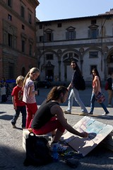 Painting THE square of the Renaissance (carpe shot) Tags: life street city trip red people architecture kids painting children square photography florence cityscape streetphotography tuscany firenze piazza fotografia toscana renaissance citt brunelleschi