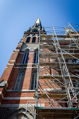 steeple scaffold (kevin.boyd) Tags: downtown victoria bc canada church steeple brick stained stain glass scaffold construction repair remediation