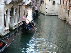 Venice canal with gondolas (lisafree54) Tags: venice italy canal water gondola gondolas oars gondoliers rowing parade boats buildings houses travel scene scenery nature free freephotos cco