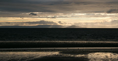Arran in the mist (Deborah S-C -Back in The Fairy Garden) Tags: clouds coast reflections beach sand rainclouds sunrays aug2016 firthofclyde isleofarran tonal prestwick ayrshirecoast