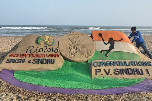 Hats off to Indian women - Rio Olympic - Sand Sculpture by Manas Kumar Sahoo