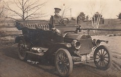 1915 Real Photo Postcard RPPC - At Military Camp Petawawa, Ontario - A Soldier Driving a 1915 Model T Ford Automobile) (WhiteRockPier) Tags: ford modelt military camp soldier petawawa camppetawawa ontario modeltford car automobile