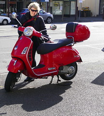 Our wonderful tour leader, red stilletto, admiring a scooter! (The Pocket Rocket) Tags: redstilletto southmelbourne victoria australia fffwalk