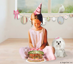 All she wanted was a pony ... (rubyblossom.) Tags: mii challenge 3 carousel cake birthday puppy dog banner room dove candles celebrate hat rubyblossom rubystreasures 2016