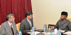 L-R, Kaisar-Alam India Deputy High Commissioner, Mr. B.N. Reddy India High Commissioner Vice President Prof. Yemi Osinbajo SAN, during a courtesy visit