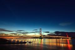 Humber Bridge at Night (MarkWoods2) Tags: humberbridge night bridge scunthorpe bartononhumber riverhumber hull humber river kingstonuponhull barton sky water reflections sunset