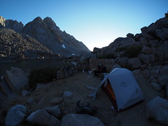 View down the canyon at sunset (thebeardedbullet) Tags: backpacking sierra mountains california humphreys basin johnmuirwilderness olympus campsite tent