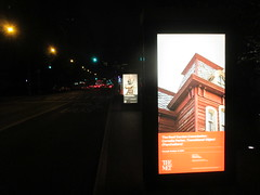 Metropolitan Museum of Art Sidewalk Billboard Ads 5028 (Brechtbug) Tags: metropolitan museum art roof garden new york city outdoor exhibit 2016 season british artist cornelia parker work named transitional object psychobarn replica bates house alfred hitchcocks 1960 horror film psycho inspired by edward hopper 1925 painting railroad covered reclaimed wood which comes from an actual barn nyc 09102016 addams family mansion charles chas halloween central park skyline spooky spook top