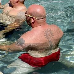 IMG_7864 (danimaniacs) Tags: swimmingpool party shirtless hot sexy man bear bald back hairy tattoo swimsuit trunks