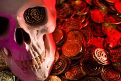 It Be Talk Like A Pirate Day!! (jciv) Tags: internationaltalklikeapirateday pirateday file:name=dsc00350 skeleton skull pirate coins treasure halloween wallpaper desktop background decoration spooky haunted creepy 2016 lightpainting