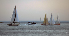 Sailors and Motor Boat (kaprysnamorela) Tags: ontariolake cherrybeach view landscape lake longshot light water sail sailing toronto twc canada nikond3300