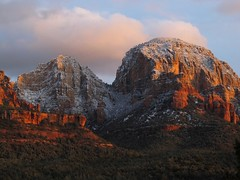 Cake With Frosting (zoniedude1) Tags: winter light sunset arizona sky mountains southwest nature clouds forest landscape outdoors evening sandstone december glow view snowy sedona adventure explore vista redrocks exploration discovery canyons radiant mountainscape coconinonationalforest redrockcountry longcanyon capitolbutte yavapaicounty redrocksecretmountainwilderness snowdusted zoniedude1 canonpowershotg11 earthnaturelife sedonaadventure2012 cakewithfrosting