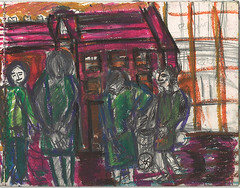 "Crouchend  villiage  In Oil Crayon.Hands in pockets,behind backs. Having a conflab at shopping trolley! • <a style=""font-size:0.8em;"" href=""http://www.flickr.com/photos/91814165@N02/8479674848/"" target=""_blank"">View on Flickr</a>"