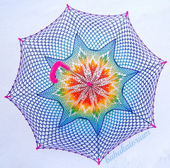 Crochet Umbrella - Rainbow Ombre Leaves Doily Motif With Star Crochet Embroidery (babukatorium) Tags: pink blue wedding red summer orange color green art thread fashion rose yellow umbrella star bride rainbow triangle colorful purple recycled handmade lace turquoise teal burgundy oneofakind pastel crochet moda violet style mandala shades ombre parasol shade gradient hippie bridal psychedelic embellished bohemian doily multicolor octagon whimsical sposa renew ombrello darkblue accessory haken parasole hkeln emeraldgreen croch ganchillo babypink royalblue fuxia upcycled uncinetto handdecorated fattoamano  tii horgolt babukatorium