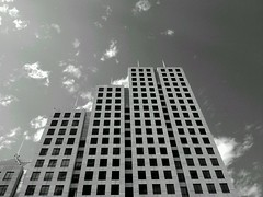 (ahh.photo) Tags: sky blackandwhite bw building architecture pattern squares step bankofamerica flickrandroidapp:filter=nyc