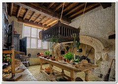 Tudor Kitchen (Hugh Stanton) Tags: lighting food cooking fruit museum photoshop table photography nikon interiors candle basket chairs decay tudor pots monks scales copper stick lantern groceries vegitable broom topaz pans lightroom reinactment