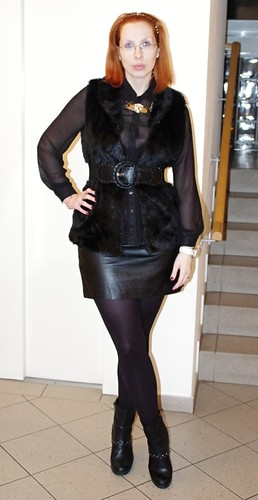 sexy fabulous woman in leather skirt pantyhose and boots - a photo ...