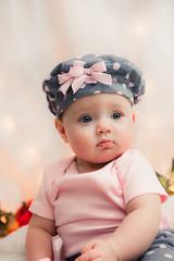 (Eliz Arline Imagery) Tags: pink baby portraits expression blueeyes cutie polkadot chubbycheeks colorportrait