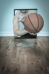Broken Basket (Eldkvast) Tags: broken glass basketball ball 3d basket image trasig glas tavla fotosondag fs130303