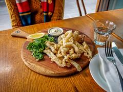 Calamari fritters (Impossible Astronaut (52 week project)) Tags: light food sunlight restaurant yummy lemon sydney australia olympus foodporn calamari foodie fritters foodphotography olympusomdem5